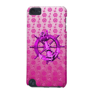 Pink Nautical Ships Wheel And Anchor iPod Touch (5th Generation) Case