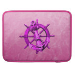 Pink Nautical Ships Wheel And Anchor Sleeve For MacBook Pro