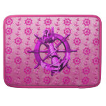 Pink Nautical Ships Wheel And Anchor Sleeve For MacBooks