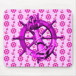 Pink Nautical Ships Wheel And Anchor Mouse Pad