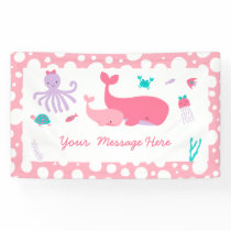Pink Nautical Under The Sea Baby Shower Banner