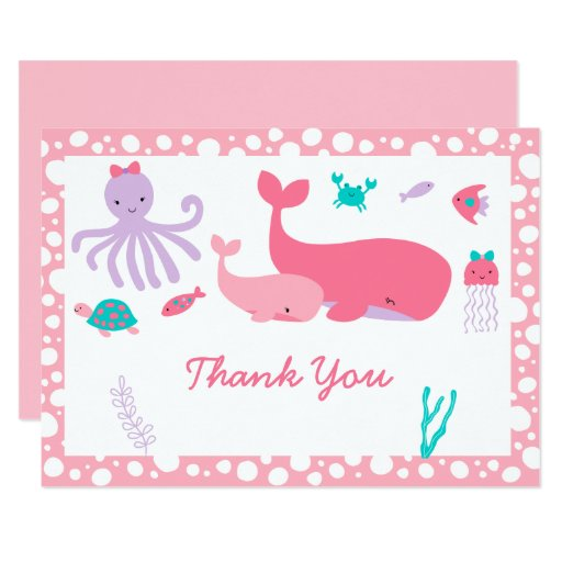 Pink Nautical Under The Sea Baby Shower Thank You Card