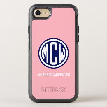 Pink Navy 3 Init White Circle Monogram Font DIY BG OtterBox Symmetry iPhone 8/7 Case