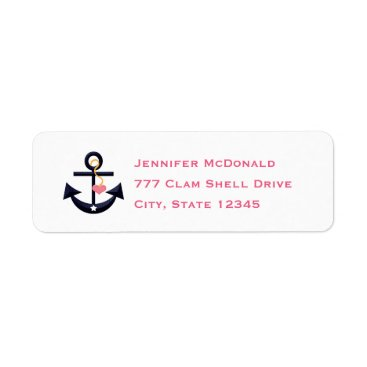 Beach Themed Pink Navy Anchor Heart Return Address Labels