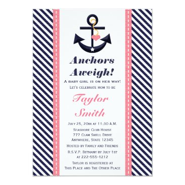 Beach Themed Pink Navy Anchor Nautical Baby Shower Invitations