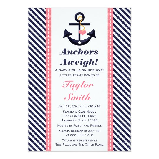 Pink Navy Anchor Nautical Baby Shower Invitations | Zazzle