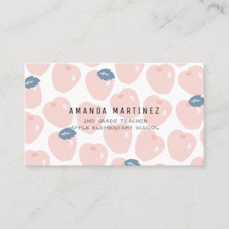Pink & Navy Apple Pattern Teacher's Business Card