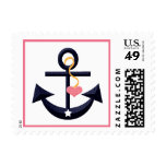Pink Navy Blue Anchor Heart Postage Stamps