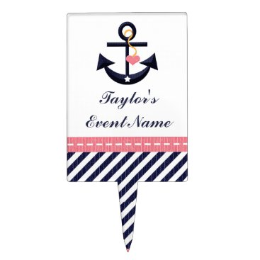 Beach Themed Pink Navy Blue Anchor Nautical Cake Pick Topper