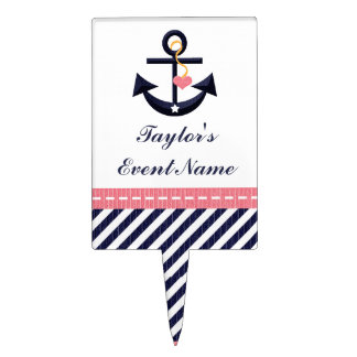 Pink Navy Blue Anchor Nautical Cake Pick Topper