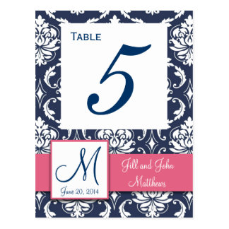 Pink Navy Blue Damask Wedding Table Number Postcard