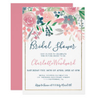 Pink navy blue floral watercolor bridal shower invitation