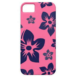 pink & navy blue hawaiian flowers iphone 5 case