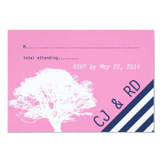 "Pink Navy Blue Initial Modern Wedding RSVP Card 3.5"" X 5"" Invitation Card"
