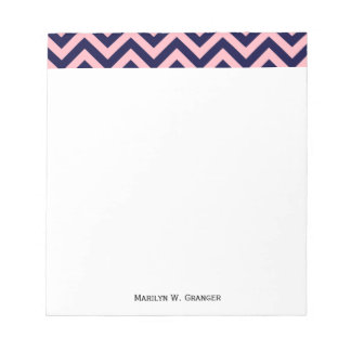 Pink, Navy Blue Large Chevron ZigZag Pattern Notepad