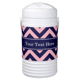 Pink, Navy Blue LG Chevron Navy Name Monogram Igloo Beverage Cooler
