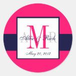 Pink Navy Blue Monogram Names Wedding Favor Classic Round Sticker