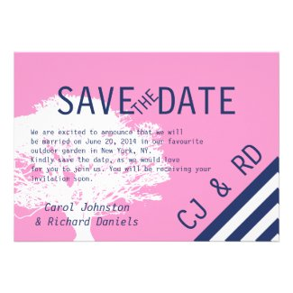 Pink Navy Blue Monograms Modern Save the Date Announcement