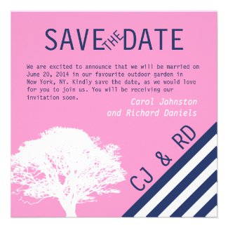 Pink Navy Blue Monograms Modern Save the Date Personalized Invites