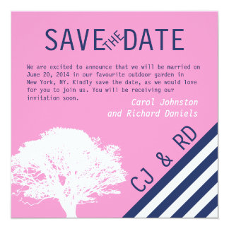 Pink Navy Blue Monograms Modern Save the Date 5.25x5.25 Square Paper Invitation Card