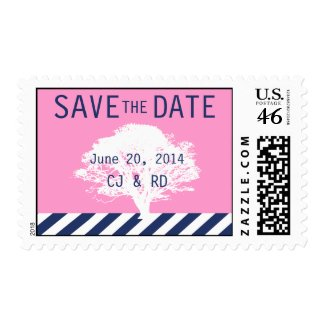 Pink Navy Blue Monograms Modern Save the Date Stamp