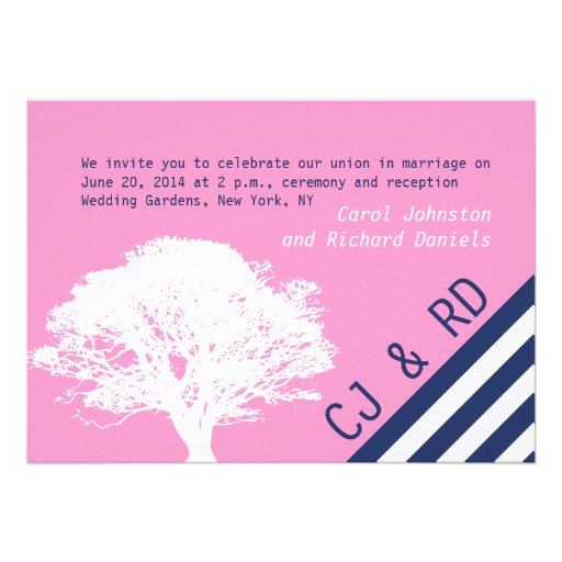 Pink Navy Blue Preppy Oak Tree Wedding Invitation 5 X 7 Invitation Card