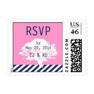 Pink Navy Blue Monograms Modern Wedding RSVP Postage Stamp