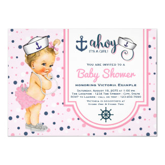 Pink Navy Blue Nautical Baby Shower Card
