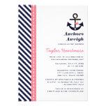 Pink Navy Blue Nautical Bridal Shower Invitations