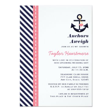 Beach Themed Pink Navy Blue Nautical Bridal Shower Invitations