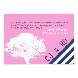 "Pink Navy Blue Preppy Oak Tree Wedding Invitation 5"" X 7"" Invitation Card"