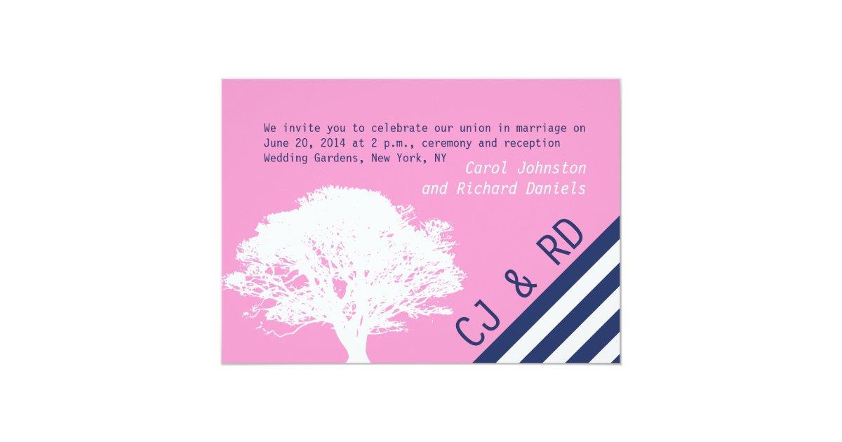 Pink Navy Blue Preppy Oak Tree Wedding Invitation