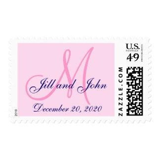 Pink, Navy Blue Save the Date Monogram Wedding Postage