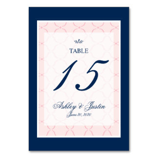 Pink, Navy Blue Traditional Wedding Table Number Card