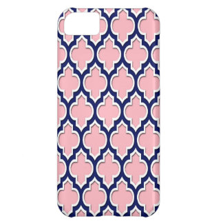 Pink, Navy Blue White Moroccan Quatrefoil #4DS iPhone 5C Cover