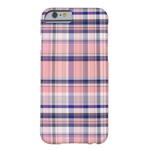 Pink Navy Blue White Preppy Madras Plaid Phone Case