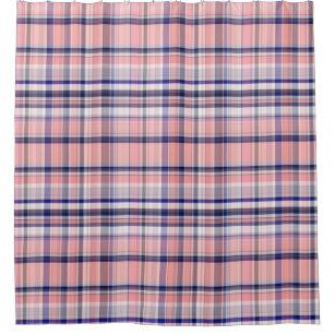 Pink Navy Blue White Preppy Madras Plaid Shower Curtain