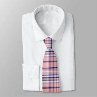 Pink Navy Blue White Preppy Madras Plaid Tie