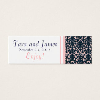 Pink Navy Damask Wedding Favour Tag Card