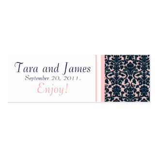 Pink Navy Damask Wedding Favour Tag Card Pack Of Skinny Business Cards