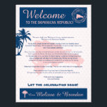 "Pink &amp; Navy Dominican Republic Welcome Letter Letterhead<br><div class=""desc"">Have fun with your destination themed wedding, giving your guests a fun welcome letter. You can list your wedding weekend itinerary or just leave a special welcome note for them in their guest bag. Palm Trees and Map of the Dominican Republic in colors of Colors are Pink and Navy Blue....</div>"