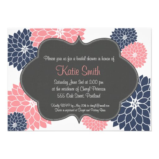 Pink & Navy Floral Bridal/Baby shower invitation from Zazzle.com