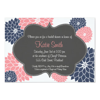 "Pink & Navy Floral Bridal/Baby shower invitation 5"" X 7"" Invitation Card"