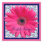 Pink Navy Gerbera Daisy Bridal Shower Invitation