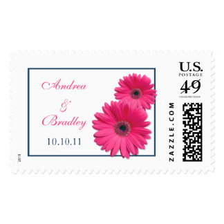 Pink Navy Gerbera Daisy Personalized Wedding Postage