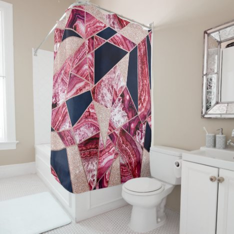 Pink Navy Glitter Agate Foil Geometric Triangles Shower Curtain