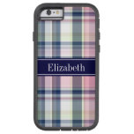 Pink Navy Green White Preppy Madras N Monogram Tough Xtreme iPhone 6 Case