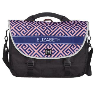 Pink Navy Med Greek Key Diag T Name Monogram Commuter Bag