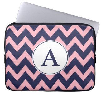 Pink Navy Monogram Laptop Sleeve