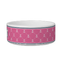Pink & Navy Nautical Anchor Pattern Personalized Bowl